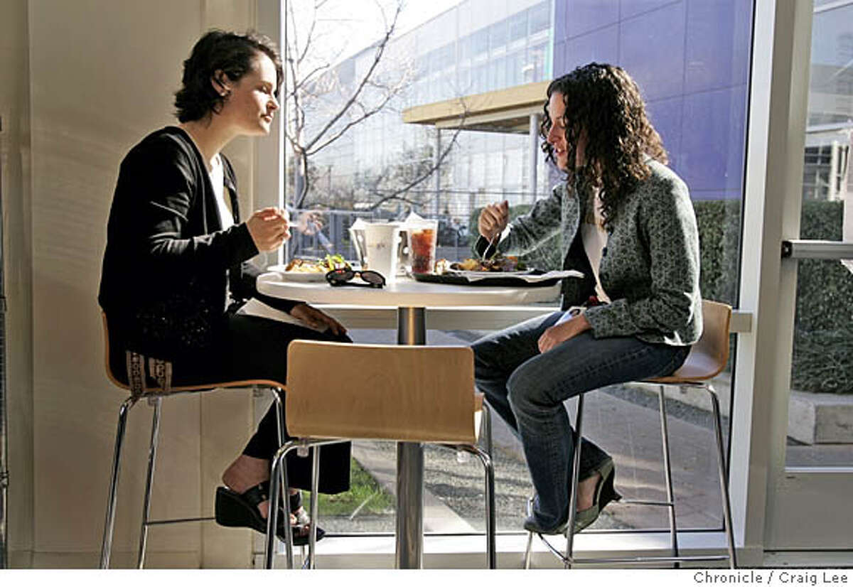 GOOGLE01_332_cl.JPG The Google food culture, the dining rooms and chefs at Google. Photo of Debbie Newhouse (left) and Cristin Frodella (right) eating at the No-Name Cafe. Craig Lee / The Chronicle MANDATORY CREDIT FOR PHOTOG AND SF CHRONICLE/ -MAGS OUT