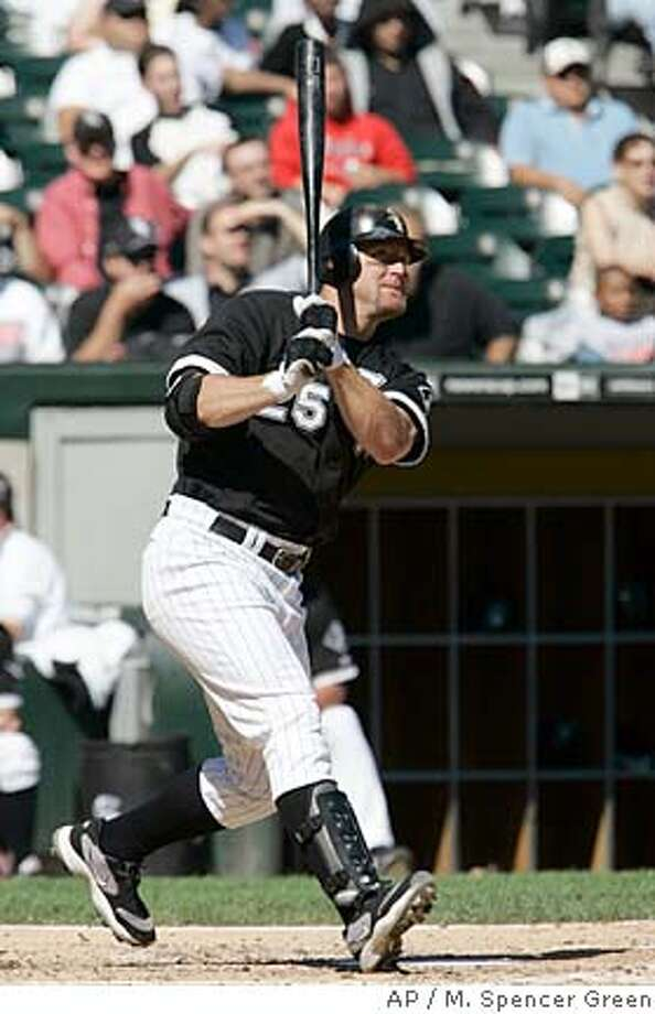 Chicago White Sox' Jim Thome hits the 499th home run of his career during the fourth inning of a baseball game against the Cleveland Indians Wednesday, Sept. 12, 2007 in Chicago. (AP Photo/M. Spencer Green) Photo: M. Spencer Green