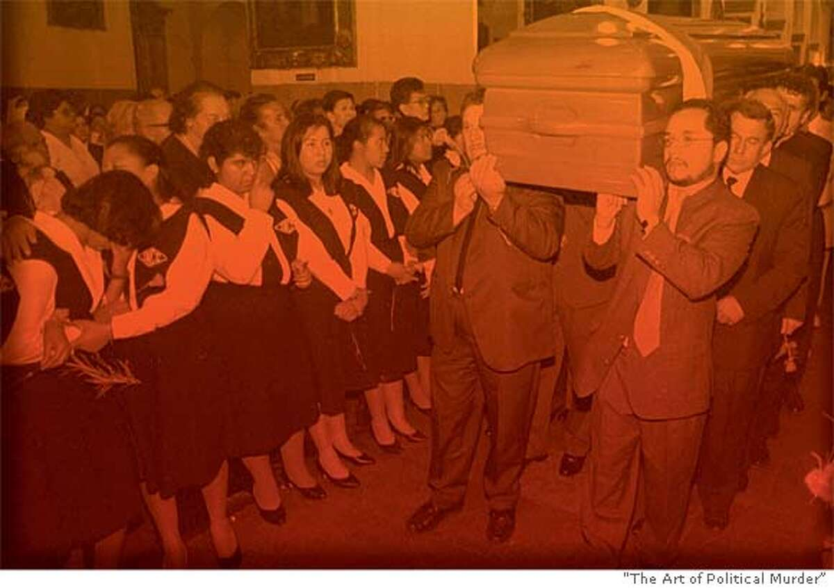 """Ronalth Ochaeta (front right) carries the coffin of Gerardi, bludgeoned to death in 1998. Photo from """"The Art of Political Murder"""""""