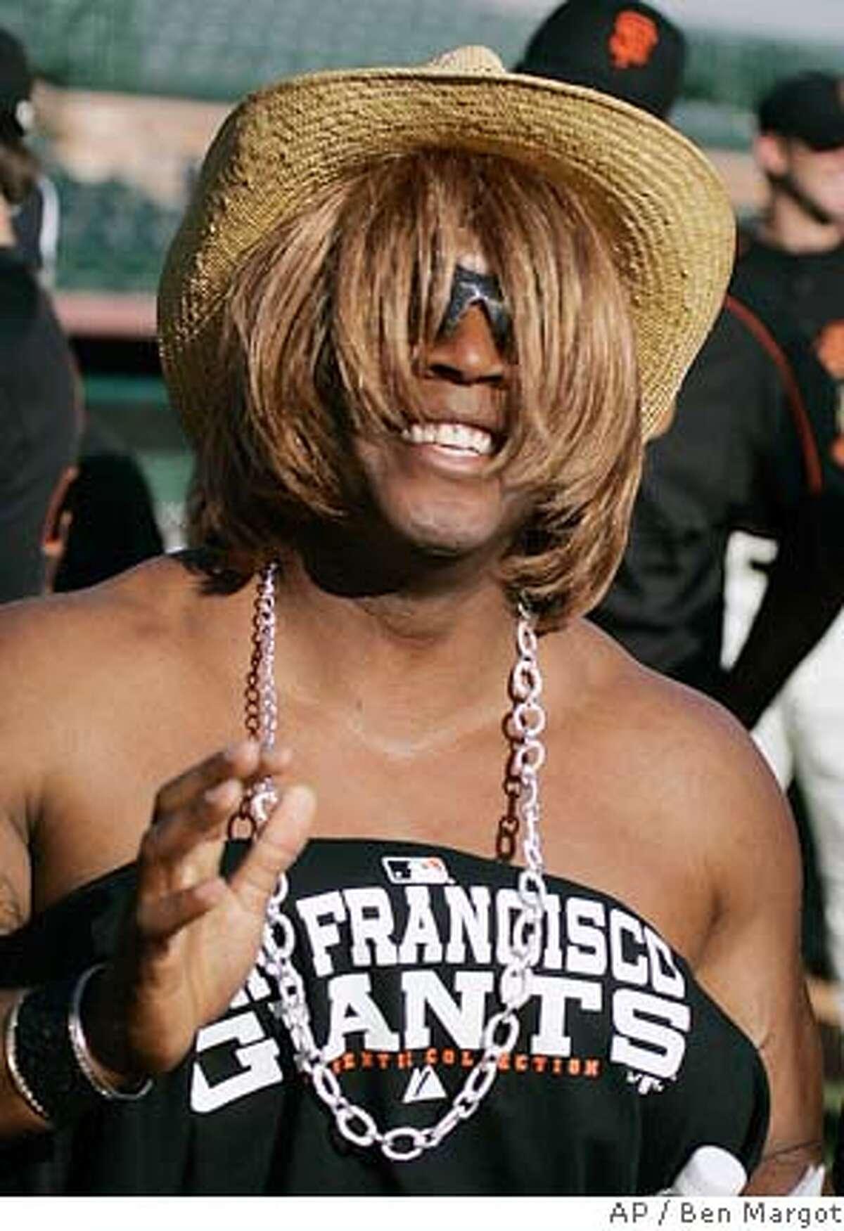 Dressed in drag portraying Paula Abdul on