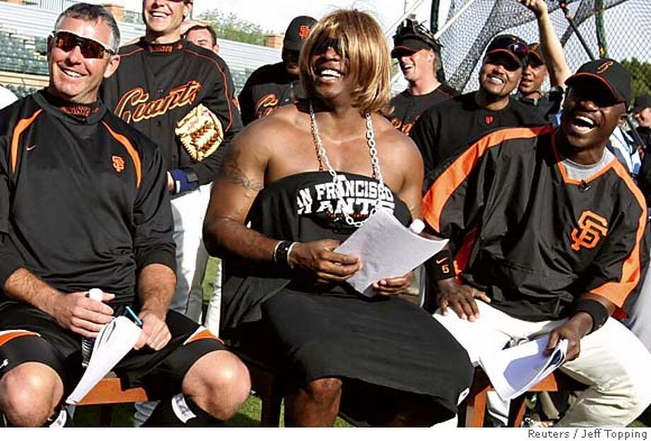 San Francisco Giants Barry Bonds is dressed in drag at spring training camp in Scottsdale Photo: JEFF TOPPING