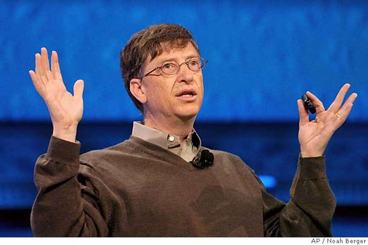 Microsoft Chairman Bill Gates delivers a keynote address at the RSA Conference in San Jose, Calif., Tuesday, Feb. 14, 2006. (AP Photo/Noah Berger)