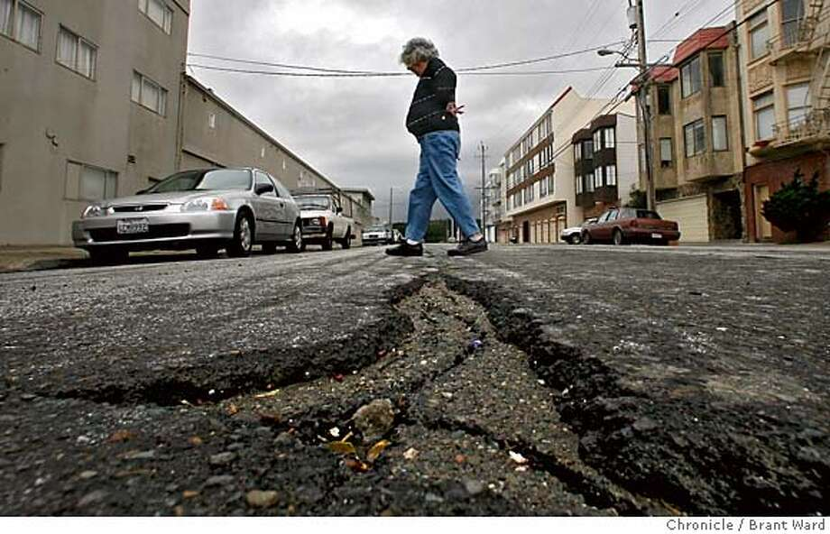 surplus408_ward.jpg  Surplus San Francisco funds may be spent on streets...here on La Playa Street just off Lincoln Avenue, the street looks like it has not been resurfaced in years. Ann Watrous, 70, walked across the street on her way home.  Brant Ward2/28/06 Photo: Brant Ward