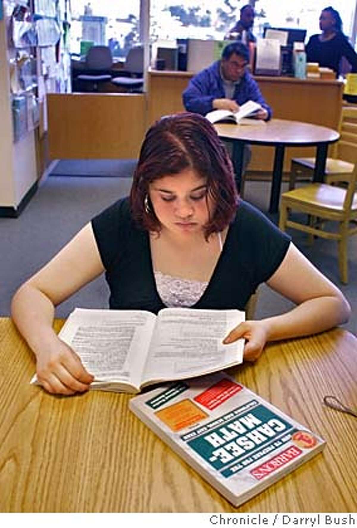 exitexamkid_0079_db.JPG Iris Padilla, 16, studies for the high school exit exam at the Richmond public library using books for English language arts and math. Event on 2/21/06 in Richmond. Darryl Bush / The Chronicle MANDATORY CREDIT FOR PHOTOG AND SF CHRONICLE/ -MAGS OUT