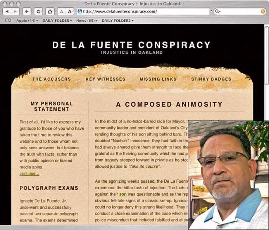 web page grab from de la fuente family about alleged conspiracy against son ignacio de la fuente who was convicted of murder Photo: Handout