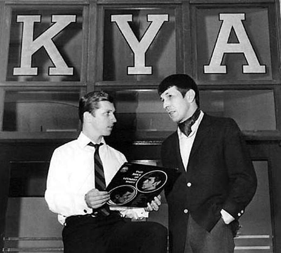 "This 1968 photo from David F. Jackson's online Bay Area Radio Museum shows disc jockey Johnny Holliday and Leonard Nimoy at KYA, where the ""Star Trek"" star was promoting his album ""Two Sides of Leonard Nimoy."" Photo courtesy Don Aron, www.bayarearadio.org"