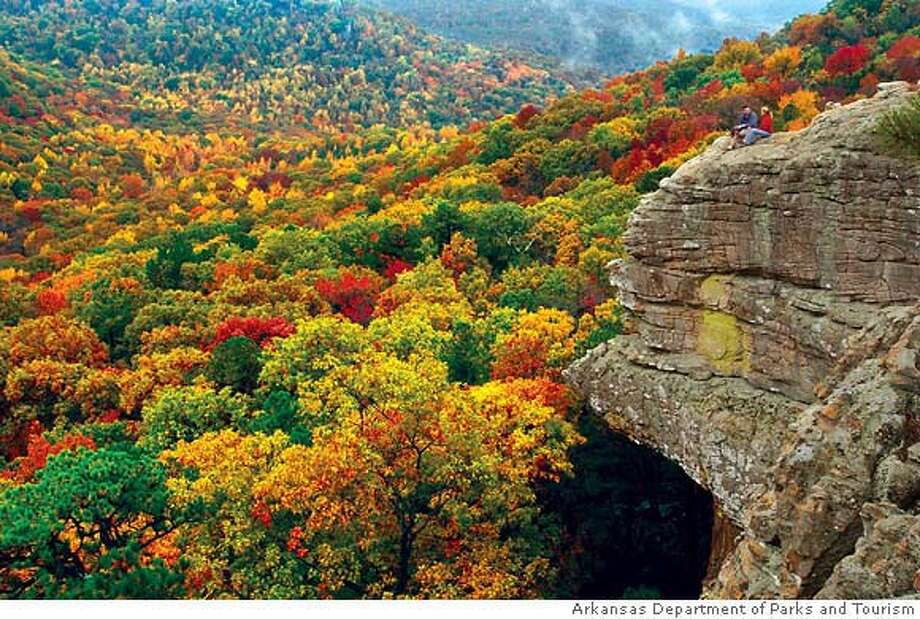 TRAVEL OZARKS -- Fall colors as viewed from Sam's Throne. Photo courtesy Arkansas Department of Parks and Tourism. OK for skyboxes, wraps, all uses. Photo: Arkansas Department Of Parks And