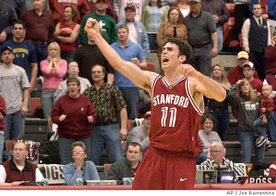 Stanford's Chris Hernandez celebrates Stanford's last-minute victory over Washington State in a college basketball game Saturday, Feb. 25, 2006, in Pullman, Wash. Stanford won 39-37. (AP Photo/Joe Barrentine) Photo: JOE BARRENTINE