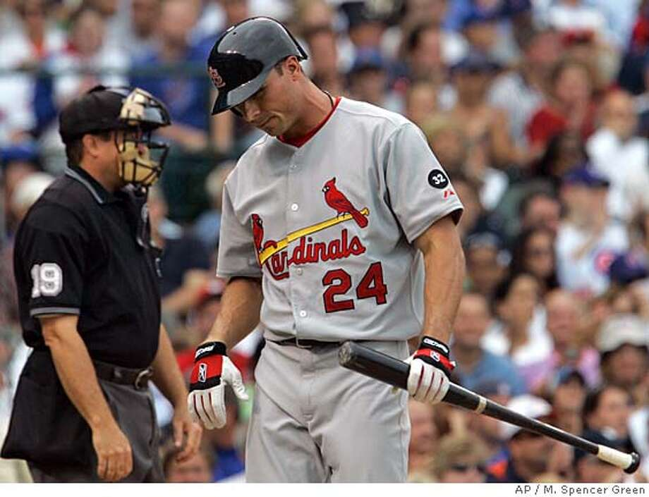 St. Louis Cardinals' Rick Ankiel reacts after striking out during the fourth inning of a baseball game against the Chicago Cubs Monday, Sept. 10, 2007, in Chicago. (AP Photo/M. Spencer Green) Photo: M. Spencer Green