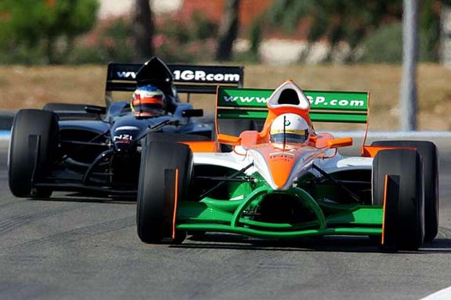 India and New Zealand cars take a preseason A1 Grand Prix test in the U.K. Photo courtesy Mazda Raceway Laguna Seca