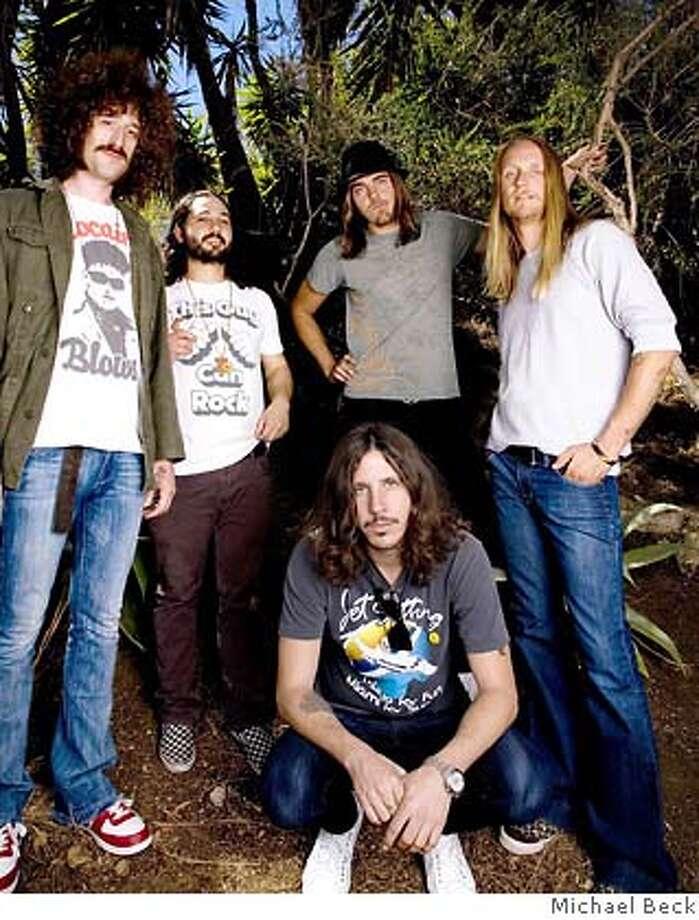The band Whitestarr.  Back L to R  Rainbow Jeramy  Tony Potato  Damon Webb  Alex �Orbi� Orbison  Front: Cisco Adler Photo: Michael Beck