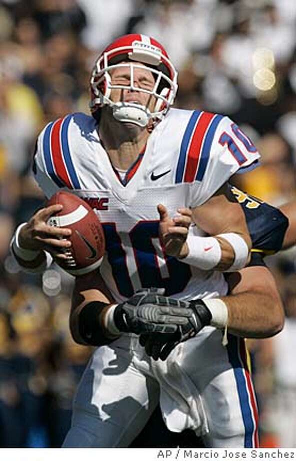 Louisiana Tech quarterback Zac Champion is sacked by California defensive end Cody Jones during the first half of a college football game in Berkeley, Calif., Saturday, Sept. 15, 2007.(AP Photo/Marcio Jose Sanchez) Photo: Marcio Jose Sanchez