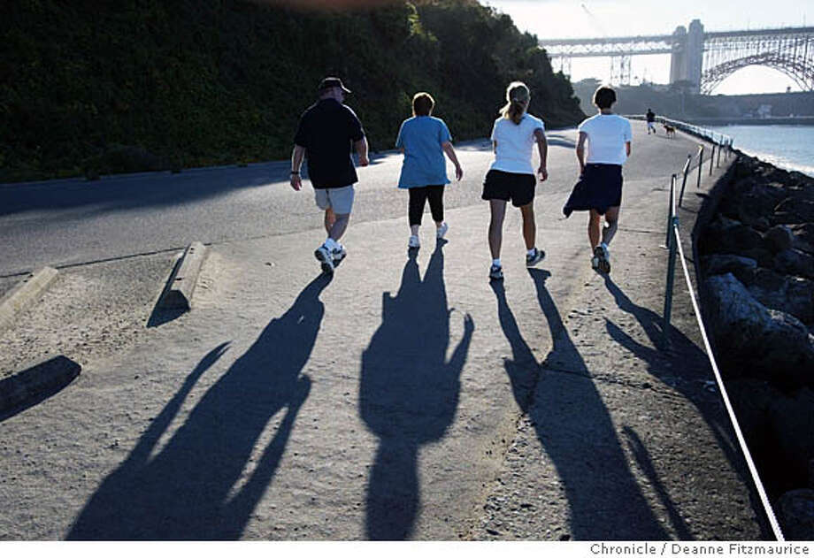 DIET1-C-05SEP02-MN-DF  A new study came out saying that people should exercise more. This group of people are power walking near Fort Point in San Francisco.  CHRONICLE PHOTO BY DEANNE FITZMAURICE CAT Photo: DEANNE FITZMAURICE