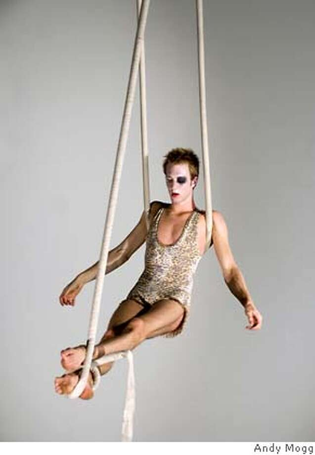 Brett Womack in Keith Hennessy & Circo Zero�s Sol niger - Sept. 20 - 29, 2007 at Project Artaud Theatre in SF Keith Hennessy�s Circo Zero presents� Sol niger *  A new work of contemporary Circus and Performance  Conceived & Choreographed by Keith Hennessy Bay Area Premiere  Sept. 20 � 23 (Thurs. - Sun.)  and Sept. 26 - 29, 2007 (Wed. - Sat.)  All shows at 8:00 pm  Project Artaud Theatre in SF Ran on: 09-16-2007  Brett Womack in Circo Zero's &quo;Sol Niger,&quo; a circus- performance work that plays Thursday through Sept. 29 at Project Artaud Theater. Photo: Andy Mogg