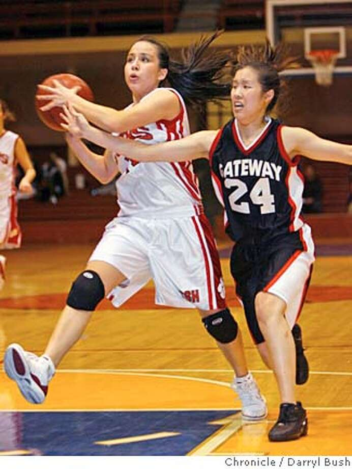 bcl25_0002_db.JPG  Convent of the Sacred Heart's Jen Hum-Traverso drives as Gateway's Alyson Szeto can't stop her in the second quarter of play. Convent of the Sacred Heart High School vs. Gateway High School at Kezar Pavilion. Convent of the Sacred Heart wins BCL championship.  Event on 2/24/06 in San Francisco.  Darryl Bush / The Chronicle MANDATORY CREDIT FOR PHOTOG AND SF CHRONICLE/ -MAGS OUT Photo: Darryl Bush