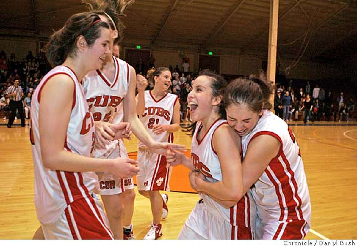 bcl25_0005_db.JPG Convent of the Sacred Heart's teammates mob Jen Hum-Traverso (second from right-being hugged) after Convent of the Sacred Heart High School beats Gateway High School at Kezar Pavilion. Convent of the Sacred Heart wins BCL championship. Event on 2/24/06 in San Francisco. Darryl Bush / The Chronicle MANDATORY CREDIT FOR PHOTOG AND SF CHRONICLE/ -MAGS OUT