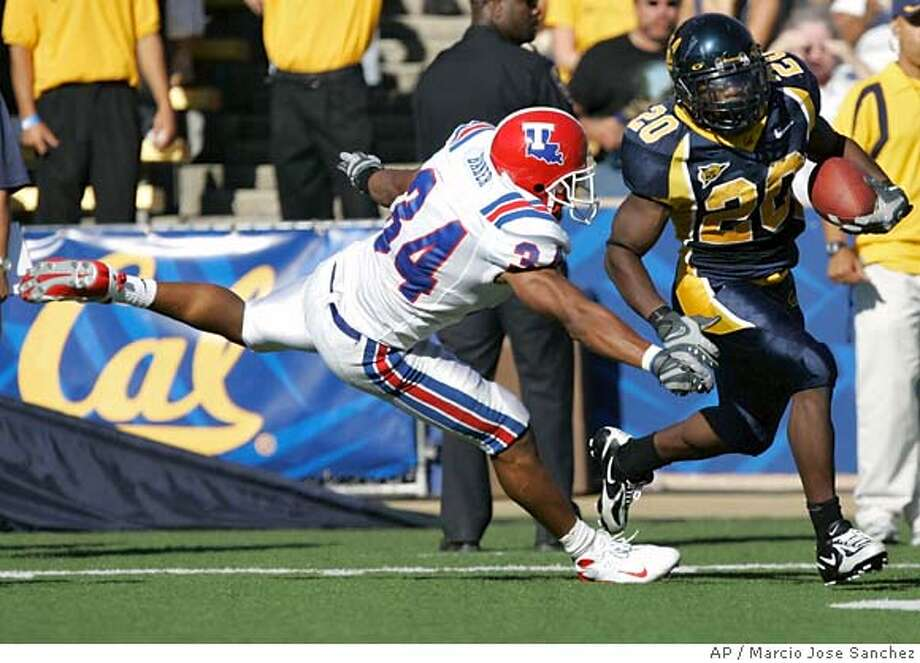 California running back Justin Forsett, right, runs past Louisiana Tech defensive back Antonio Baker on his way to a 39-yard touchdown run in the first half of a college football game in Berkeley, Calif., Saturday, Sept. 15, 2007.(AP Photo/Marcio Jose Sanchez) Photo: Marcio Jose Sanchez
