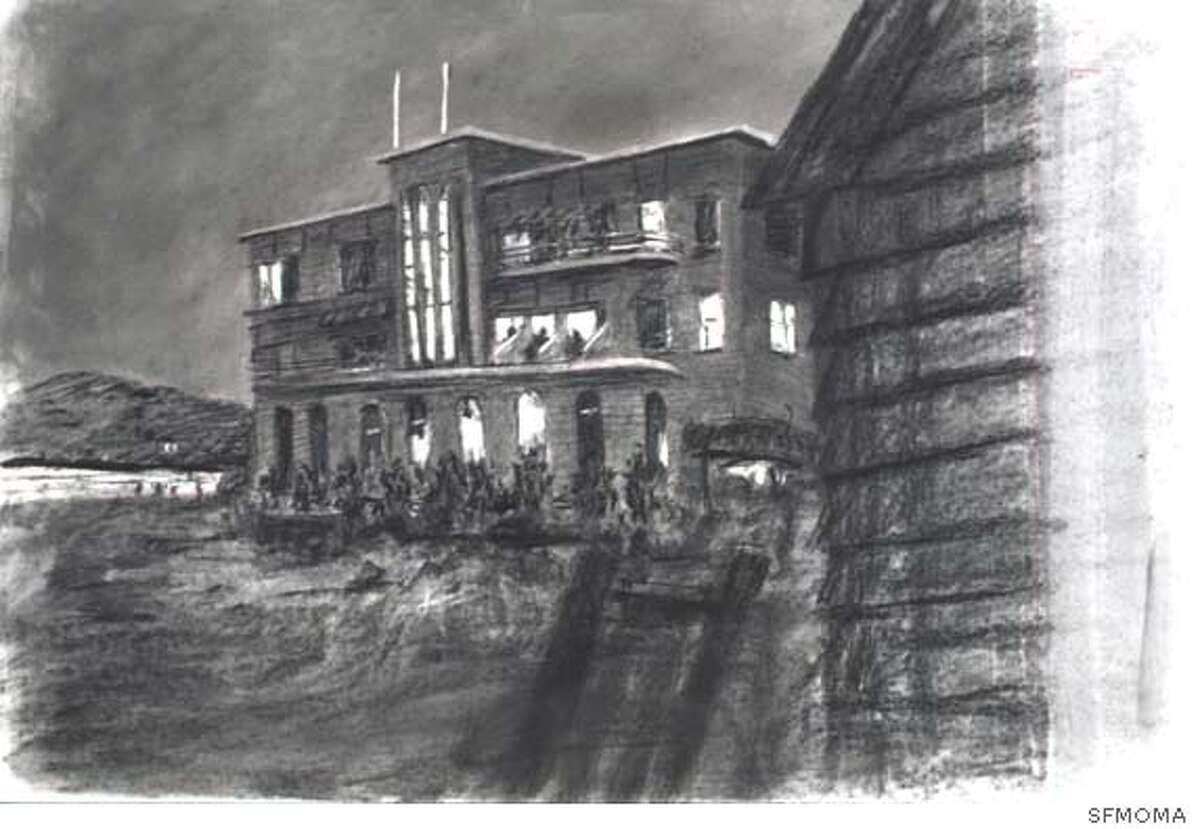 Beach Hotel at Night, drawing from Tide Table, 2003; charcoal on paper; Collection SFMOMA, Accessions Committee Fund purchase