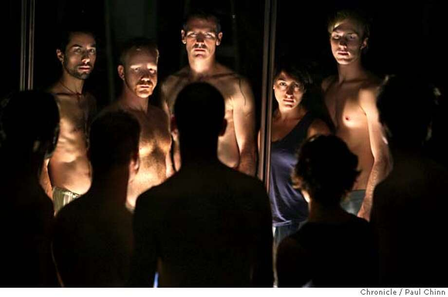 """From left, Sean Feit, Seth Eisen, Keith Hennessy, Emily Leap and Brett Womack of Circo Zero rehearse for an upcoming performance at their studio in Oakland, Calif. on Wednesday, Sept. 12, 2007. """"Sol Niger"""" opens on Sept. 20 at Project Artaud in San Francisco  PAUL CHINN/The Chronicle  **Sean Feit, Seth Eisen, Keith Hennessy, Emily Leap, Brett Womack MANDATORY CREDIT FOR PHOTOGRAPHER AND S.F. CHRONICLE/NO SALES - MAGS OUT Photo: PAUL CHINN"""