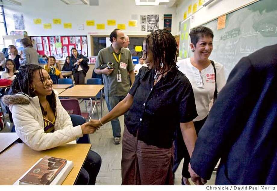 "OAKLAND, CA - SEPTEMBER 14: Ayannah Jones, 15 shakes hands with author Alice Walker after she spoke to students about an essay challenge called "" How I Changed My Own Life"" at the Skyline High School September 14, 2007 in Oakland, California. (Photo by David Paul Morris/The Chronicle) Photo: David Paul Morris"
