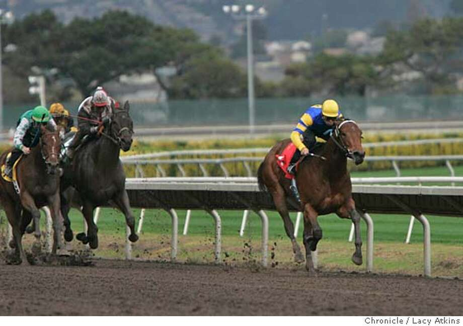 A Lil' Alimony with the jockey Roberto Gonzalez takes the led and wins the first race of the opening of Golden Gate Fields fall/ winter season, Nov. 10, 2004, in Albany. The horse is owned by First Wives Club and Lingenfelter. ---- Golden Gate Fields opens its fall/winter thoroughbred racing season Nov 10, 2004, in Albany. LACY ATKINS/SAN FRANCISCO CHRONICLE Ran on: 11-11-2004  Photo caption Ran on: 11-11-2004  Photo caption Ran on: 01-08-2005 Ran on: 01-08-2005 Ran on: 01-08-2005 Photo: LACY ATKINS
