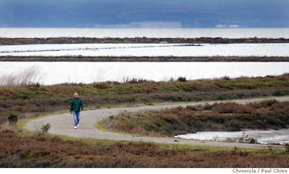A hiker walks on the Cogswell Marsh loop trail at the Hayward Regional Shoreline park in Hayward, Calif. on 2/18/06. The 2.8 mile trail offers a close-up look at the region's variety of shorebirds.  PAUL CHINN/The Chronicle MANDATORY CREDIT FOR PHOTOG AND S.F. CHRONICLE/ - MAGS OUT Photo: PAUL CHINN