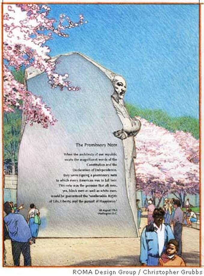 Stone of Hope facing the Jefferson Memorial across the Tidal Basin. Credit: Illustrator Christopher Grubbs/ROMA Design Group NOTE: one time use only Photo: Illustrator Christopher Grubbs/R