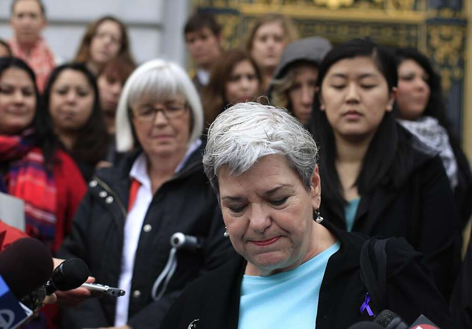 Beverly Upton, executive director of the San Francisco Domestic Violence Consortium, speaks during a press conference in which San Francisco anti-domestic violence advocates called on Mayor Ed Lee and the Board of Supervisors to take the necessary action to remove Sheriff Ross Mirkarimi from office on Thursday, March 15, 2012 in San Francisco, Calif. In response to Sheriff Mirkarimi's statement this week that he had no plans to step down, after his guilty plea to a misdemeanor charge of false imprisonment, anti-domestic violence advocates demand Mirkarimi's immediate removal from office. Photo: Lea Suzuki, The Chronicle