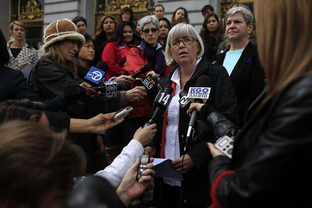 Kathy Black, executive director La Casa de las Madres, speaks during a press conference in which San Francisco anti-domestic violence advocates called on Mayor Ed Lee and the Board of Supervisors to take the necessary action to remove Sheriff Ross Mirkarimi from office on Thursday, March 15, 2012 in San Francisco, Calif. In response to Sheriff Mirkarimi's statement this week that he had no plans to step down, after his guilty plea to a misdemeanor charge of false imprisonment, anti-domestic violence advocates demand Mirkarimi's immediate removal from office. Photo: Lea Suzuki, The Chronicle