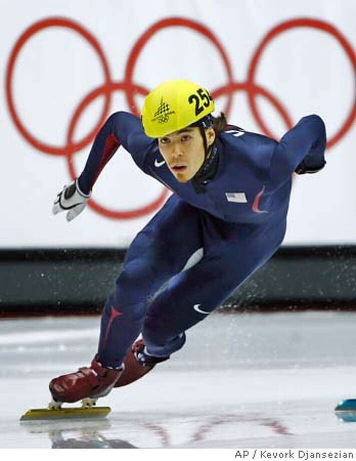 Apolo Anton Ohno of the United States skating to a victory in his heat in the Men's 500 meter race in Short Track Speed Skating at the Turin 2006 Winter Olympic Games in Turin, Italy, Wednesday, Feb. 22, 2006. (AP Photo/Kevork Djansezian) Photo: KEVORK DJANSEZIAN