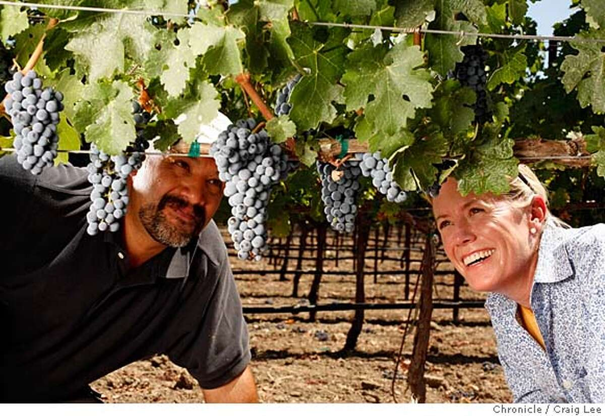 VINEYARD14_017_cl.JPG Story about women vineyard managers. Photo of Mary Hall (right) Vineyard Manager at Harlan Estate and Napa Valley ReserveEvent and Alejandro Alvarez (left), her assistant vineyard manager. on 8/22/07 in St. Helena. photo by Craig Lee / The Chronicle MANDATORY CREDIT FOR PHOTOG AND SF CHRONICLE/NO SALES-MAGS OUT