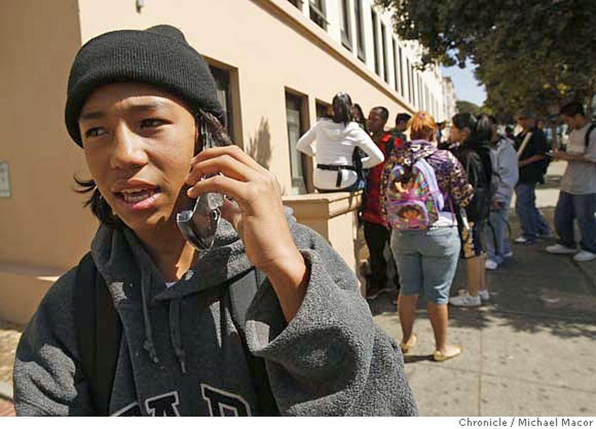cellphones14_016_mac.jpg Outside Galileo High School in San Francisco, 16 year old Carlos Rodriguez doesn't have his driver's license just yet but will be affected by the law when he does. Teenagers in California will no longer be able to use cell phones, PDAs, iPods, laptops or any other electronic devices while driving, under a bill signed Thursday by Gov. Arnold Schwarzenegger Photographed in, San Francisco, Ca, on 9/13/07. Photo by: Michael Macor/ The Chronicle Mandatory credit for Photographer and San Francisco Chronicle No sales/ Magazines Out