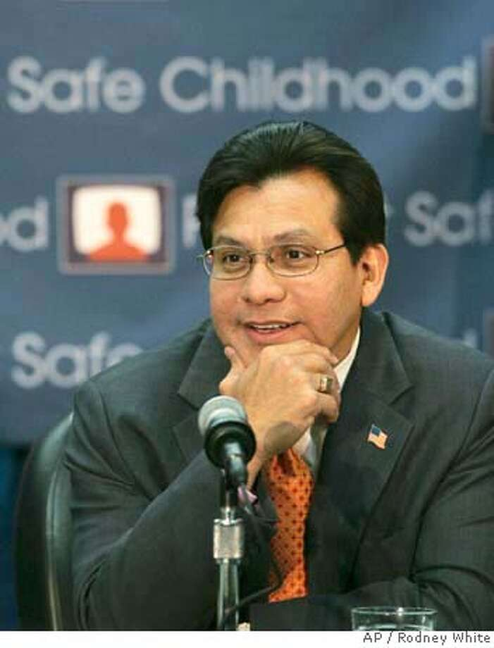 U.S. Attorney General Alberto Gonzales gestures during remarks at a roundtable discussion on exploitation of children and child pornography Thursday Sept. 13, 2007, at the US Attorney General's office in downtown Des Moines, Iowa. Gonzales leaves his post Monday after announcing his resignation in August. (AP Photo/The Register, Rodney White) Photo: Rodney White