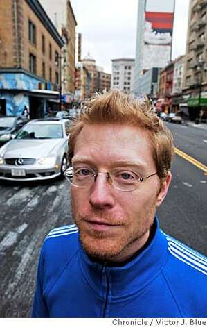 "Actor Anthony Rapp on Sixth St. in San Francisco CA Friday Feb. 17, 2006. Rapp came out of nowhere to work in a musical in development in 1996 that came to be called Rent. More recently he starred in the film version of the play, with many of the ""New York"" scenes filmed on Sixth St. in San Francisco. Rapp has written a memoir called Without You, which is about the very emotional creation of Rent as well as his coping with his mother's terminal cancer.  Victor J. Blue / The Chronicle Photo: Victor J. Blue"