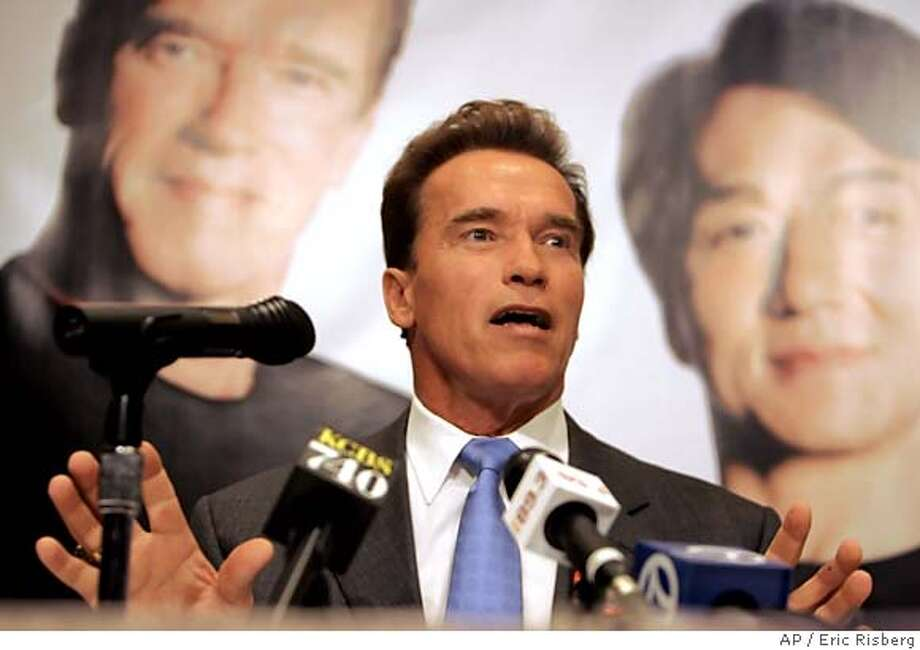 California Gov. Arnold Schwarzenegger answers questions about his battle against piracy and respect for intellectual property rights during a news conference in Hong Kong, Friday, Nov. 18, 2005. The governor, who is on a six-day trade mission to Beijing, Shanghai and Hong Kong held the news conference after appearing with Jackie Chan to unveil a public service announcement against piracy..(AP Photo/Eric Risberg) Ran on: 11-26-2005  Gov. Arnold Schwarz- enegger Ran on: 11-26-2005  Gov. Arnold Schwarz- enegger Ran on: 11-28-2005  Schwarz- enegger Photo: ERIC RISBERG