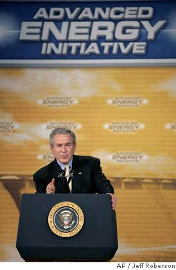 President Bush delivers remarks about energy before a group at Johnson Controls, Inc. Monday, Feb. 20, 2006, in Milwaukee. (AP Photo/Jeff Roberson) Photo: JEFF ROBERSON