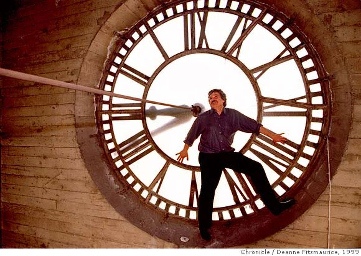 FRANK/C/27FEB99/PR/DF - Phil Frank, cartoonist and author of the Farley comic strip poses in the Chronicle clock tower where his new studio will be located. CHRONICLE PHOTO BY DEANNE FITZMAURICE