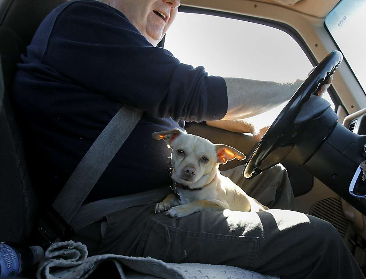 ET, the Chihuahua, joins Michael Boyter on a trip to the storage yard. Michael Boyter lost his spacious home in Bethel Island to foreclosure in September of 2011, and has been warned he may soon be evicted. He has a lawsuit pending saying the foreclosure is void because Wells Fargo Bank cannot prove they owned the note.