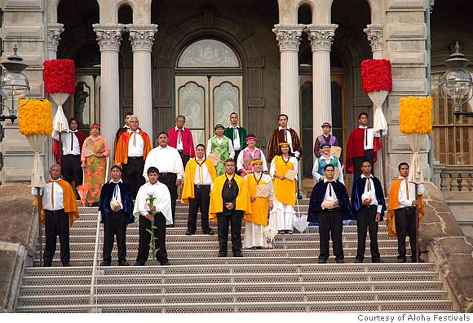 ALOHA FRIDAY -- This opening ceremonies of the 2006 take place on the steps of 'Iolani Palace, with the O'ahu Royal Court in costumes flanked by kahilis, the feathered royal standards. The are a statewide series of cultural celebrations in Hawaii from late August to late October. Photo ourtesy Photo: Handout