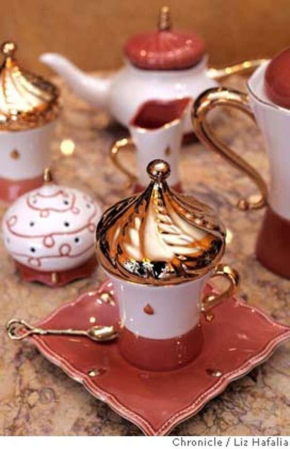Tea set is from Monte Carlo and called Tsarine.  Peche Mignon, 147 Clement Street, SF 415-221-6000 Photographed by Liz Hafalia on 1/17/06 in San Francisco, California. SFC Photo: Liz Hafalia