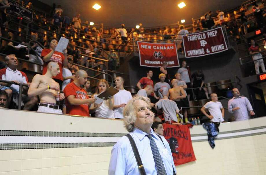 Bruce Jaffe, Fairfield Prep swim coach, after his team won the Boys CIAC State Open Swimming championships at Yale University in New Haven, Conn., Saturday, March 17, 2012. Photo: Bob Luckey / Greenwich Time