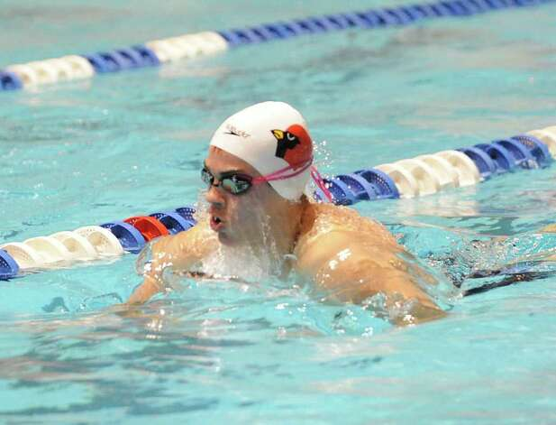 Iain Edmundson of Greenwich swims the breaststroke in the 200 medley relay during the Boys CIAC State Open Swimming championships at Yale University in New Haven, Conn., Saturday, March 17, 2012. Photo: Bob Luckey / Greenwich Time