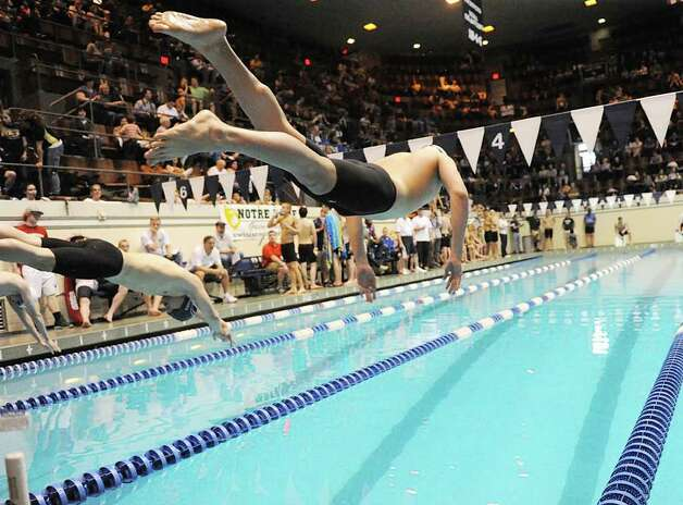 Boys CIAC State Open Swimming championships at Yale University in New Haven, Conn., Saturday, March 17, 2012. Photo: Bob Luckey / Greenwich Time