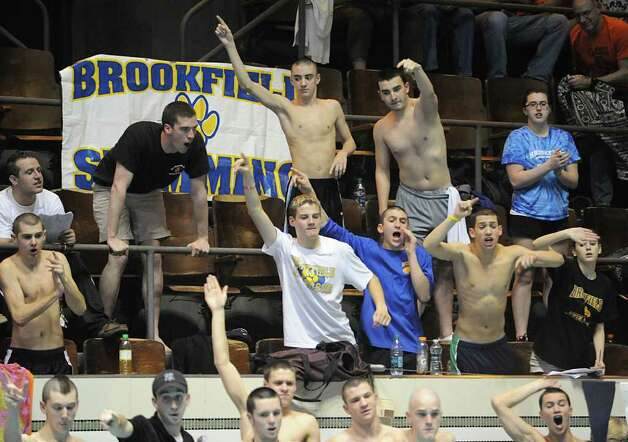 The Brookfield swim team reacts during the Boys CIAC State Open Swimming championships at Yale University in New Haven, Conn., Saturday, March 17, 2012. Photo: Bob Luckey / Greenwich Time