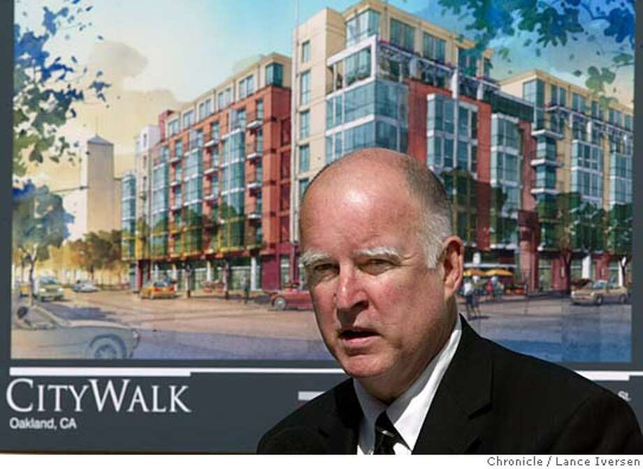 OAKLAND10K_069.jpg_  The renaissance of Oakland downtown is changing. Mayor Jerry Brown attends the groundbreaking for the new downtown City Walk project. The mayor Brown's goal of 10,000 new housing starts is falling short with only 5,136 started and completed to date. By Lance Iversen/San Francisco Chronicle Ran on: 03-20-2005  Oakland Mayor Jerry Brown attends the groundbreaking for City Walk, a 252-unit condo and retail project near City Hall. Ran on: 03-27-2005  Jerry Brown  ALSO RAN: 05/04/2005 Ran on: 05-07-2005  Jerry Brown, mayor of Oakland, proposes a budget that would cut maintenance to parks. MANDATORY CREDIT PHOTOG AND SAN FRANCISCO CHRONICLE. Photo: Lance Iversen