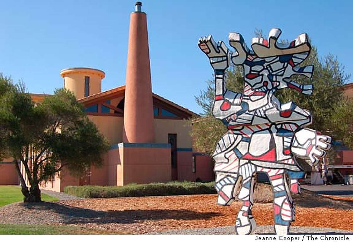 TRAVEL CALISTOGA, Calif. -- Clos Pegase, a winery in Calistoga, was built to showcase the owner Jan Shrem�s extensive art collection, which includes this sculpture by Jean Dubuffet. credit: Jeanne Cooper / The Chronicle 2005