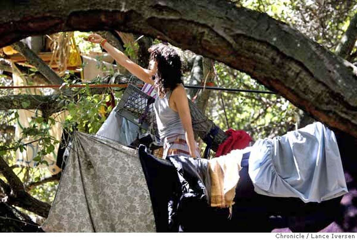 TREESITTERS02_63172.JPG An unidentified tree sitter cleans house. Tree sitters outside University of California's Memorial Stadium exchanged words with both Cal and Tennessee fans prior to the start of Saturday's game. SEPT 9, 2007. Lance Iversen/The Chronicle (cq) SUBJECT 9/01/07,in BERKELEY. CA. MANDATORY CREDIT PHOTOG AND SAN FRANCISCO CHRONICLE/NO SALES MAGS OUT