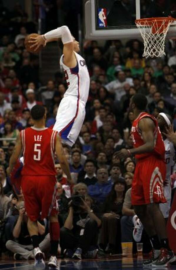 The Los Angeles Clippers' Blake Griffin dunks with authority during the third quarter. (Michael Robinson Chavez / McClatchy-Tribune News Service)