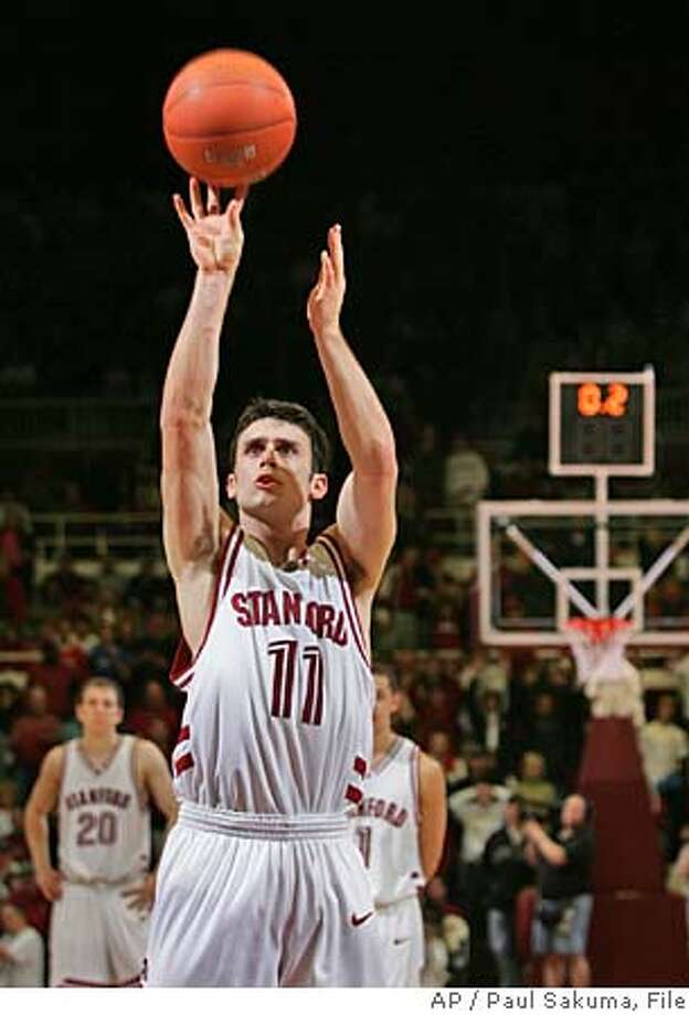 Stanford guard Chris Hernandez scores one of three free throws in the last .02 seconds of the game to bring Stanford into overtime against Washington during NCAA basketball game, Sunday, Jan. 29, 2006 in Stanford, Calif. Stanford went onto the upset Washington 76-67. (AP Photo/Paul Sakuma) Photo: PAUL SAKUMA