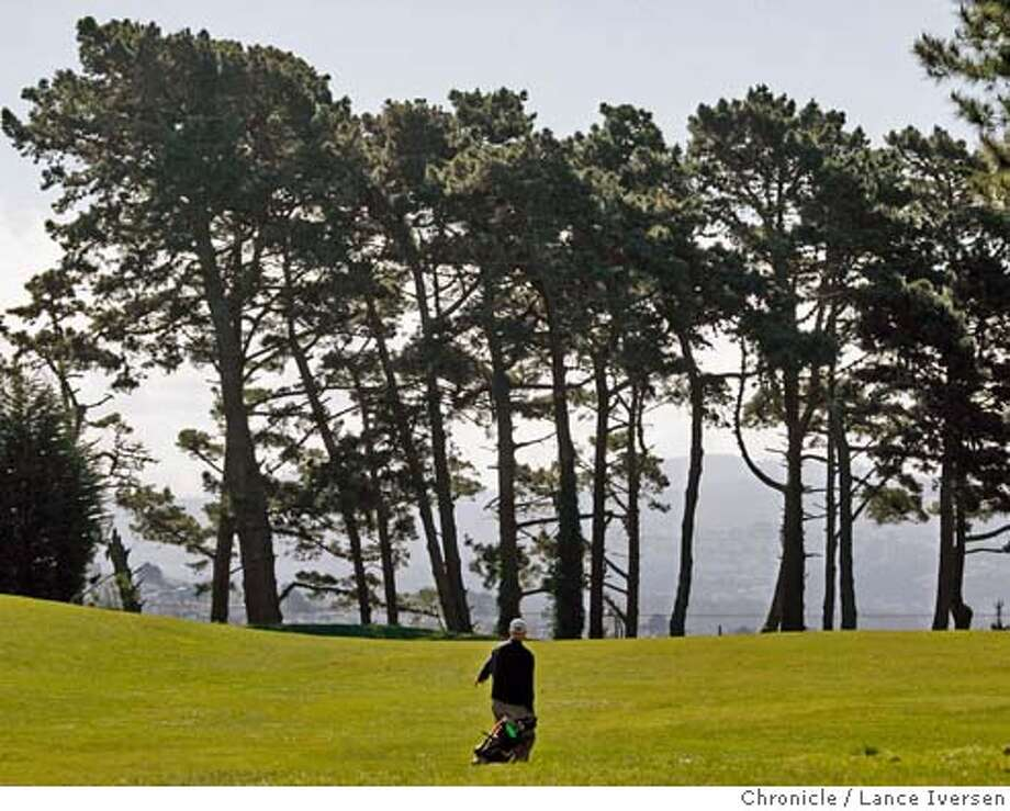 "GOLF18_LI_0005.jpg_  James Judge from San Francisco walks up the 6th fairway at San Francisco's Lincoln Park Golf Course. The city owned course is a prime example of a San Francisco municipal golf course in need of some TLC. The course offers some of the most stunning vistas of the city -- its No. 17 caught a spot on Fairways & Greens magazine's ""101 Best Golf Experiences in the West. By Lance Iversen/San Francisco Chronicle MANDATORY CREDIT PHOTOG AND SAN FRANCISCO CHRONICLE. Photo: Lance Iversen"